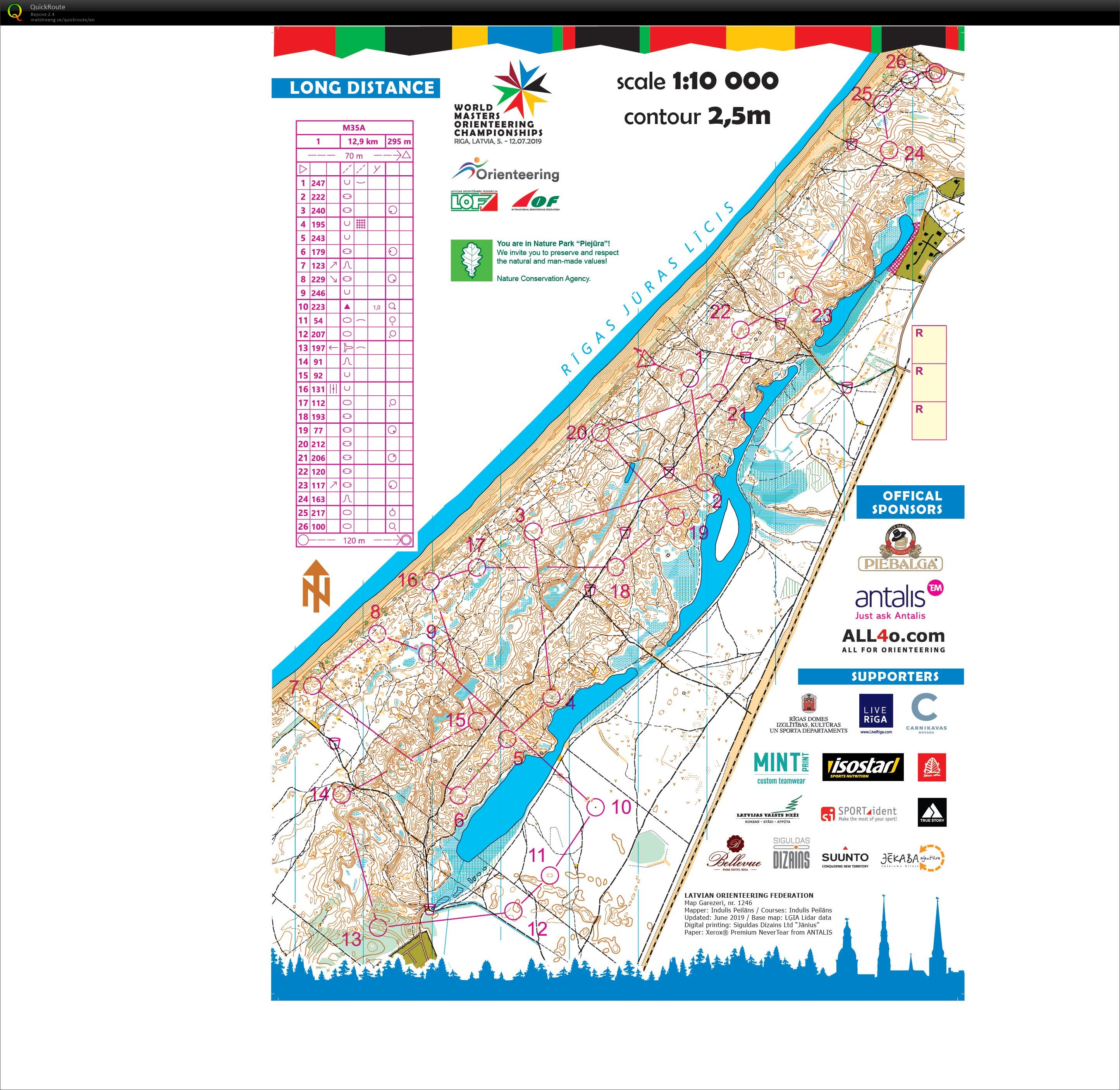 World Masters Orienteering Championships 2019. Long Final A. (12/07/2019)
